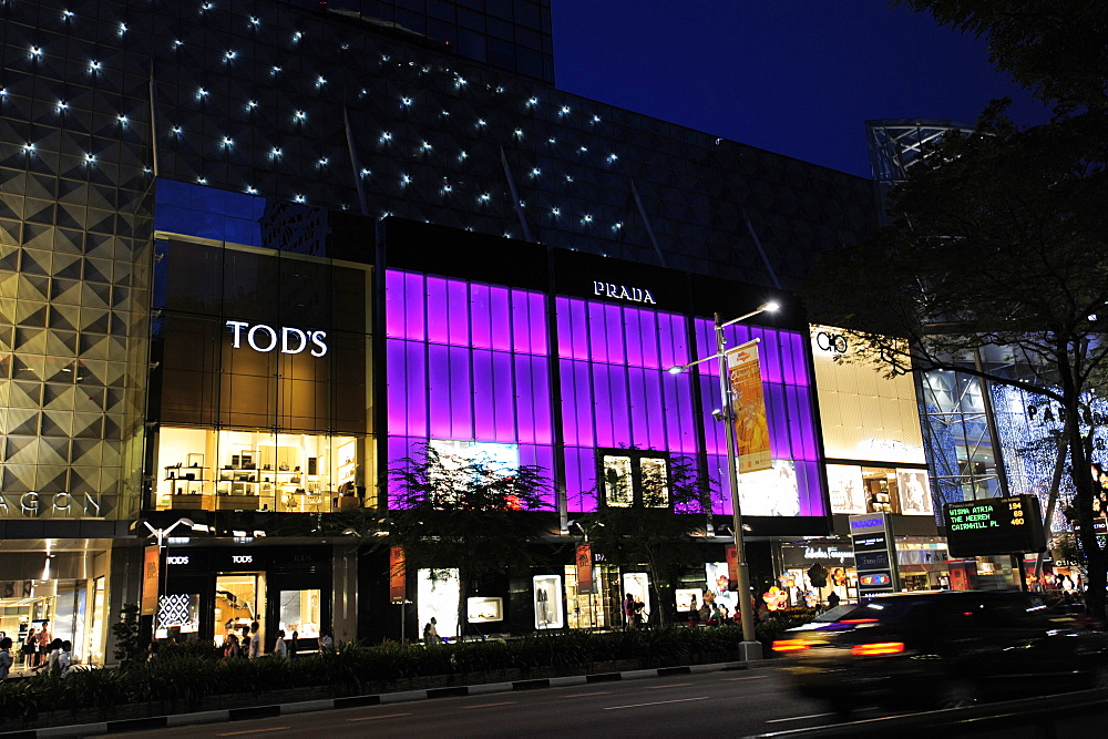 The Paragon Complex, a modern shopping and commercial centre in the evening, Orchard Road, Singapore, Asia
