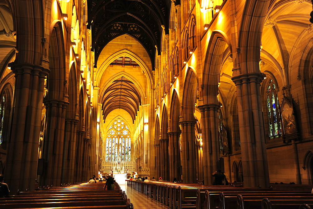 Interior view of the St. Mary's Cathedral, main church in neo-Gothic Style, Sydney City, Sydney, New South Wales, NSW, Australia