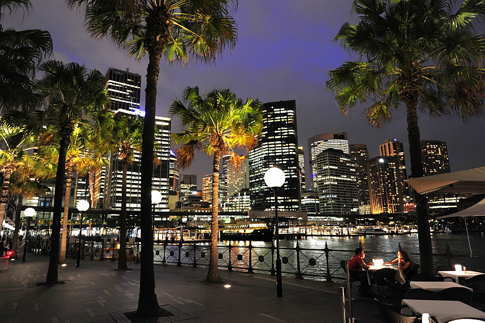 Skyline of the Central Business District, CBD, bar cafe at the Circular Quay East, Sydney Cove, Sydney Harbour, Sydney, New South Wales, NSW, Australia