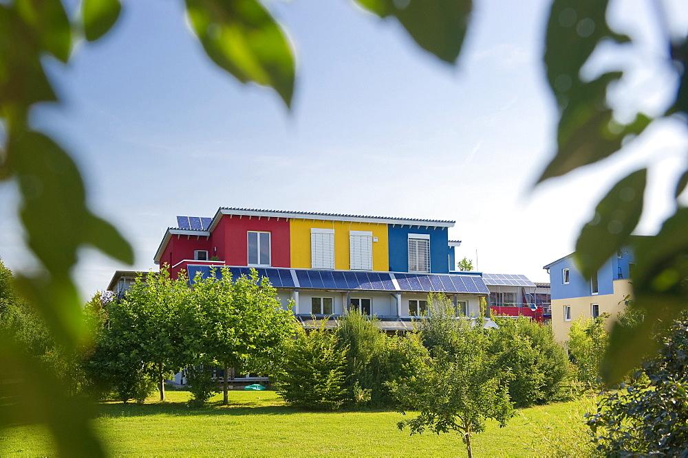 Passive house in the Rieselfeld quarter, Freiburg im Breisgau, Black Forest, Baden-Wuerttemberg, Germany, Europe