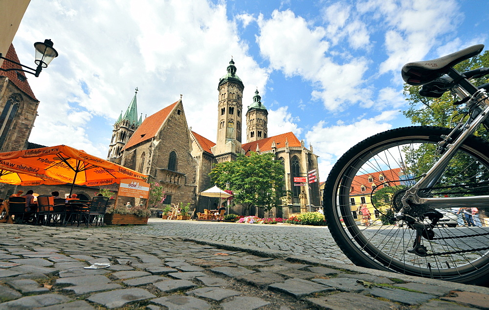 Square at the cathedral St. Peter and Paul, Naumburg, Saxony-Anhalt, Germany, Europe