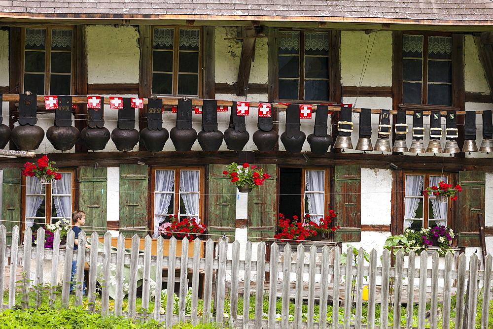Hotel Waldhaus with cowbells hung up outside, Bernese Oberland, Canton of Bern, Switzerland