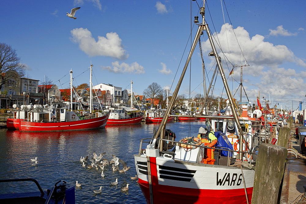 Fishing boats on the Alter Strom, Warnemuende, Rostock, Baltic coast, Mecklenburg Western Pomerania, Germany, Europe