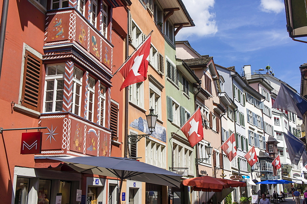 Old city center, Augustinergasse, swiss flaggs, Zurich, Switzerland