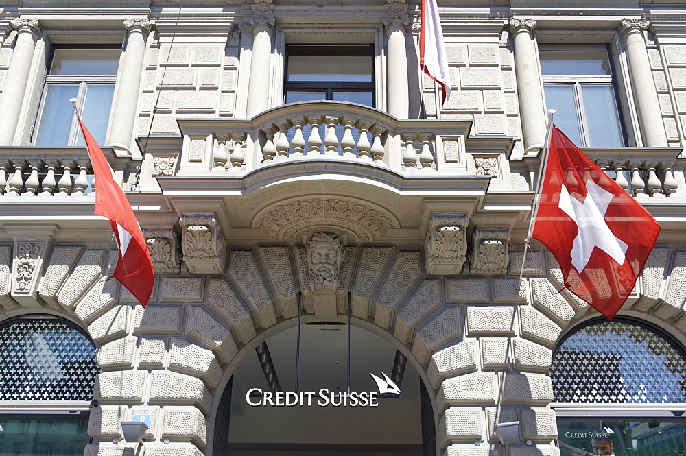 Bank Credit Suisse, Paradeplatz, UBS, Credit Suisse, Swiss flags, 1 August, national holyday, Zurich, Switzerland