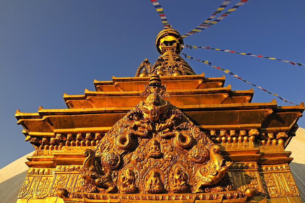 Buddha statues on the golden harmika, Swayambhunath Stupa, Kathmandu, Kathmandu Valley, Nepal, Asia