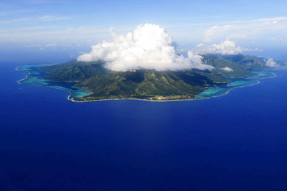 Aerial view of the island of Raiatea, Society Islands, French Polynesia, Windward Islands, South Pacific