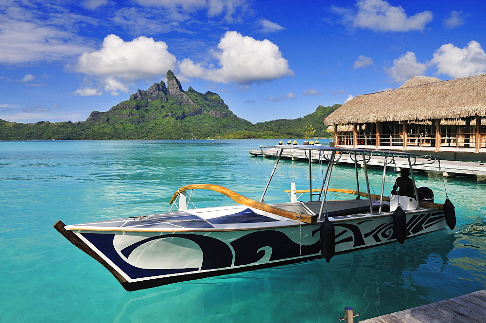 Mount Otemanu and Saint Regis Bora Bora Resort, Bora Bora, Society Islands, French Polynesia, Windward Islands, South Pacific