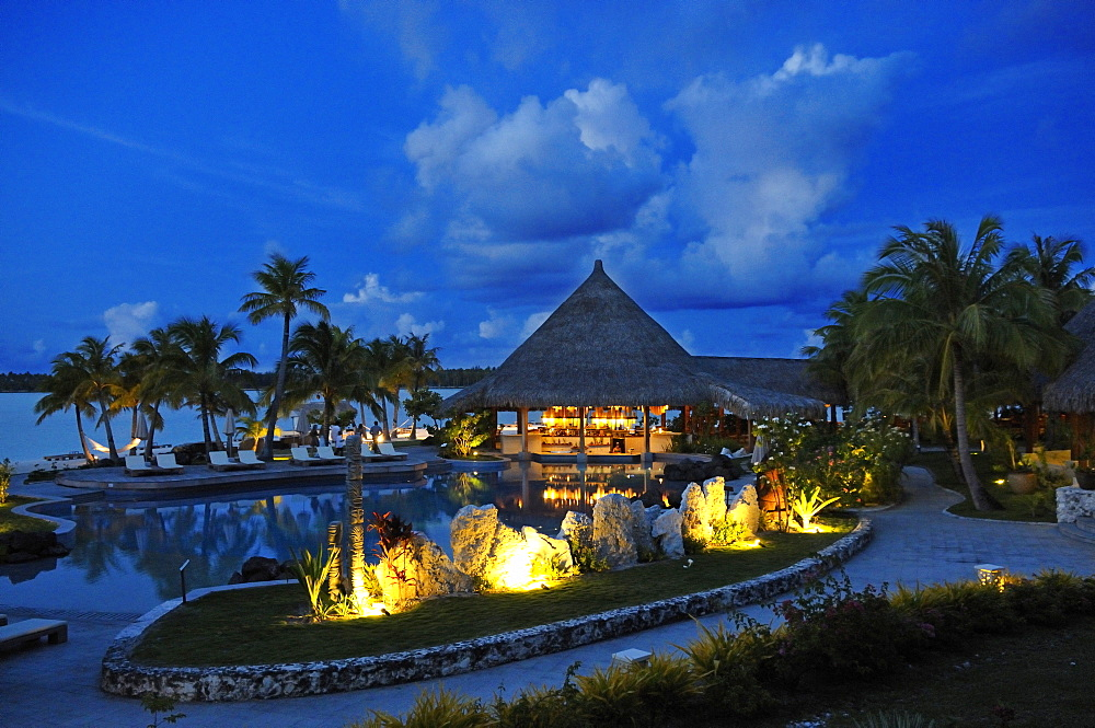 Saint Regis Bora Bora Resort at night, Bora Bora, Society Islands, French Polynesia, Windward Islands, South Pacific