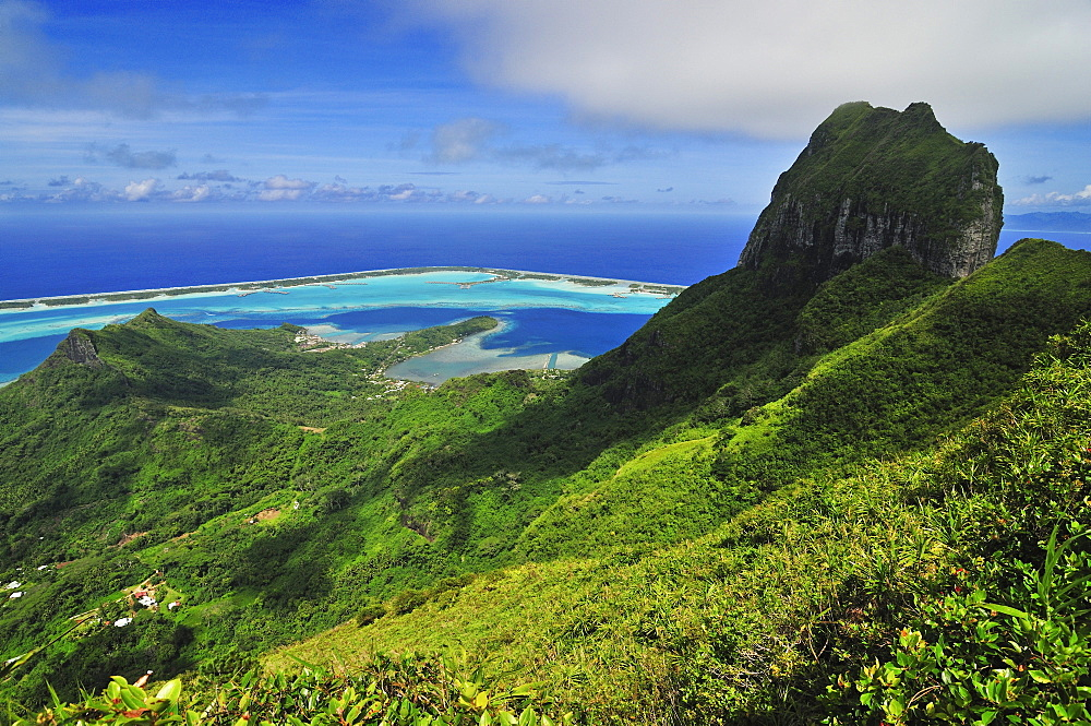 View towards the riff, Motu and Mount Otemanu from Mount Pahia, Bora Bora, Society Islands, French Polynesia, Windward Islands, South Pacific
