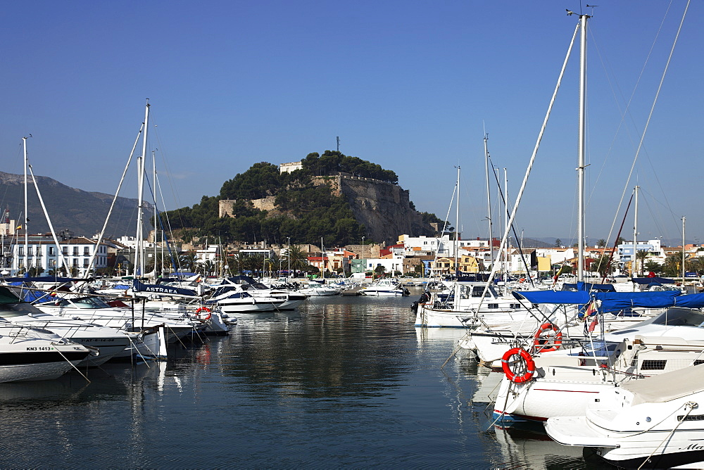 Marina, castle in background, Denia, Alicante, Spain