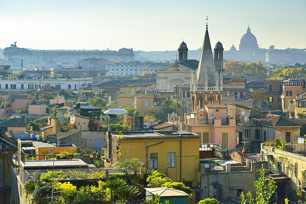 View towards Monument of Vittorio Emanuele II and St Peter´s basilica, Pincio, UNESCO World Heritage Site Rome, Rome, Latium, Lazio, Italy