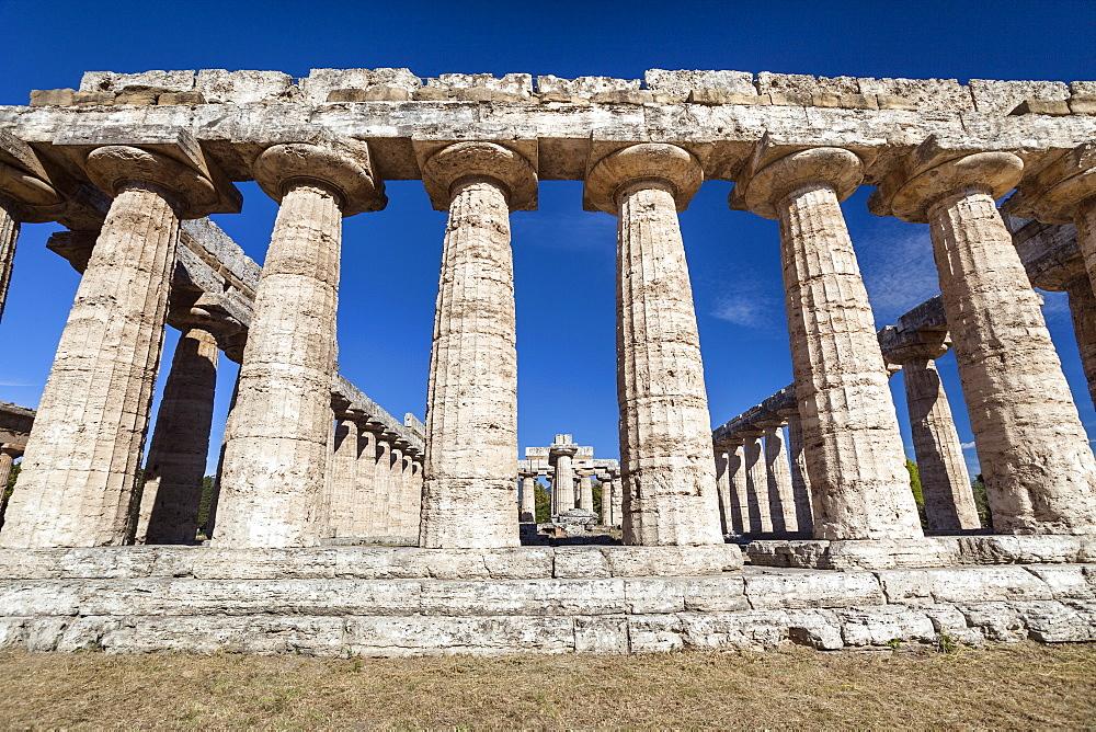 Hera Temple, Basilica, historic town of Paestum in the Gulf of Salerno, Capaccio, Campania, Italy, Europe