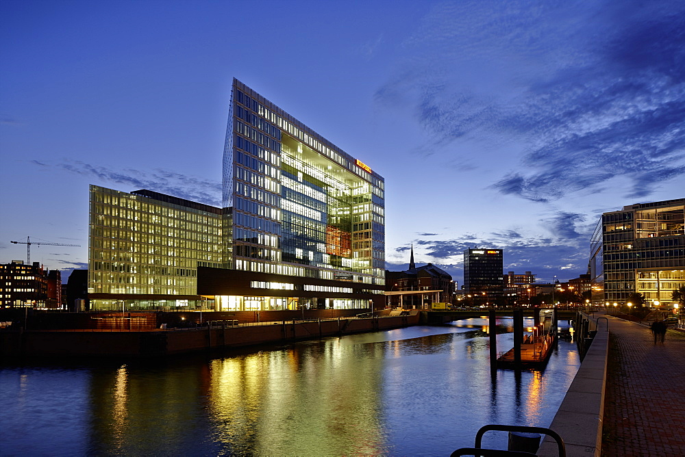 Building of Spiegel publishing house, Ericusspitze, between Hafencity and Speicherstadt, Hamburg, Germany