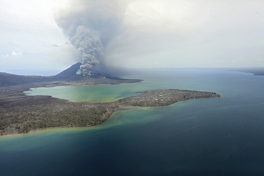 Tavurvur volcano and surroundings. Tavurvur Volcano, Rabaul, East New Britain, Papua New Guinea, Pacific