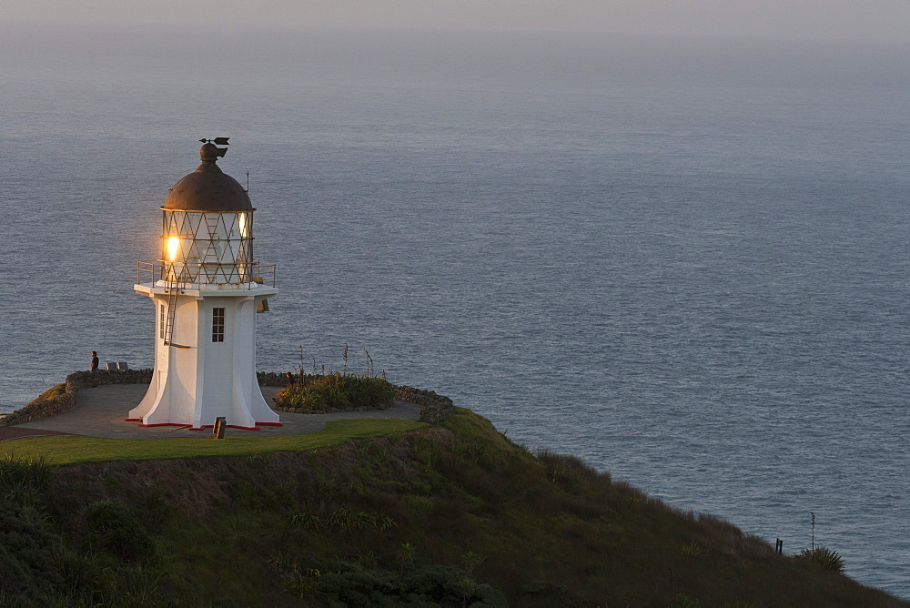 Lighthouse at Cape Reinga, Maori belief that the cape is where the spirits of the dead enter the underworld, most northerly point, Tasman Sea, North Island, New Zealand