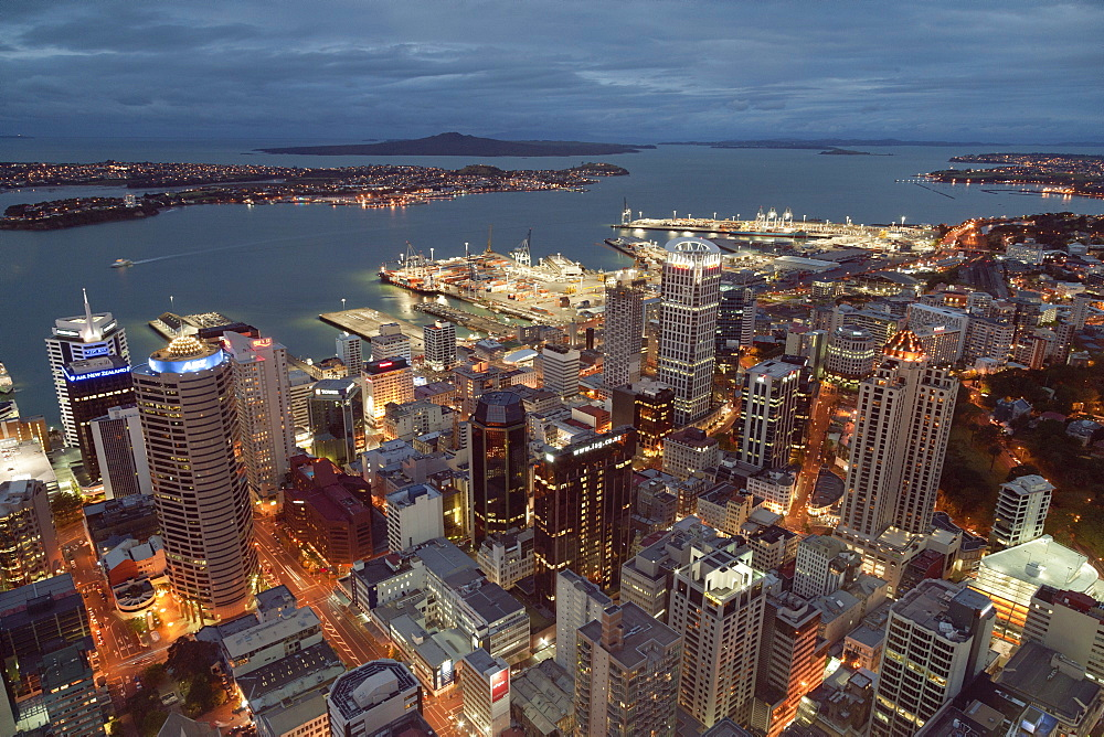 View from Sky Tower over Auckland harbour with highrise buildings in the evening, Auckland City, North Island, New Zealand - 1113-96052