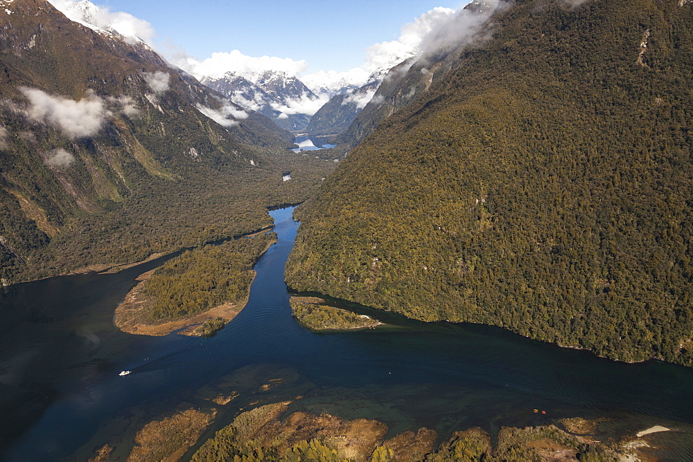 Aerial view of Milford Sound with Sandfly Point and Arthur River, Fiordland National Park, South Island, New Zealand