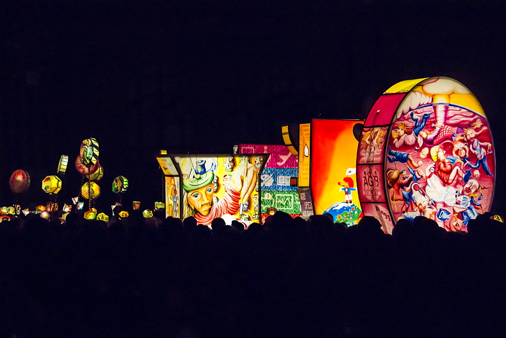 Artistic colourful lanterns lighting the sky, Morgenstraich, Basel Carnival, canton of Basel, Switzerland