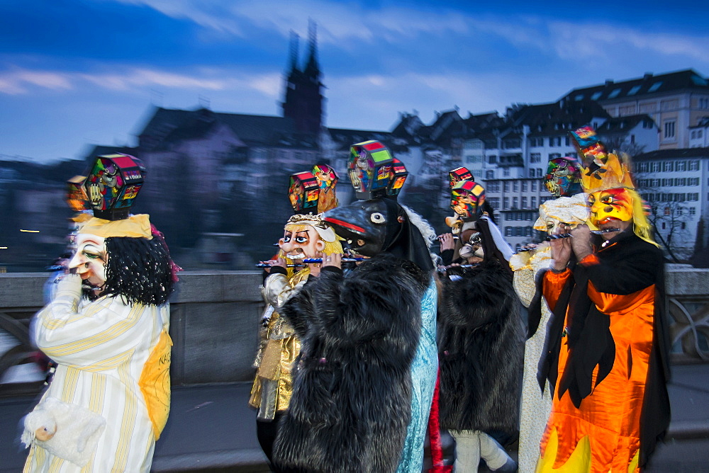 Procession with colourful lanterns, Morgenstraich, Carnival of Basel, canton of Basel, Switzerland