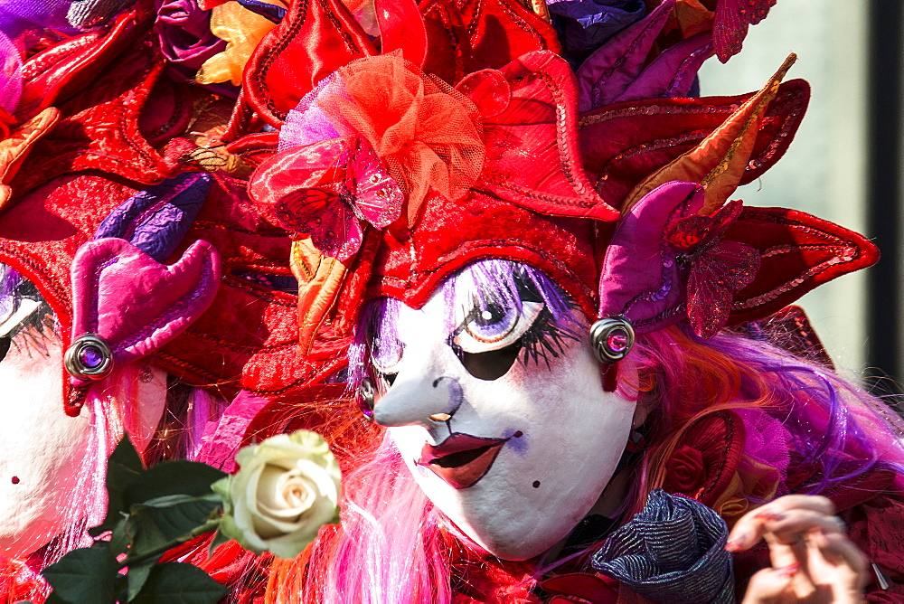 Colourful costumes at the carnival procession, Carnival of Basel, canton of Basel, Switzerland