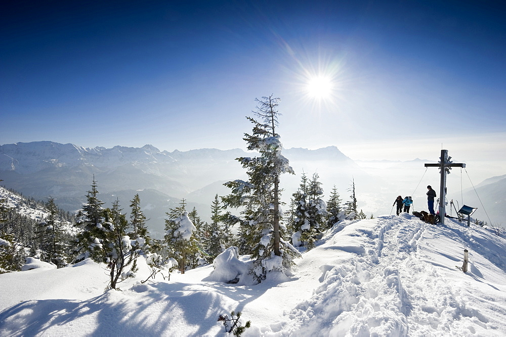 Cross-country skiers on the summit of the Wank mountain, Zugspitze in the background, Garmisch-Partenkirchen, Bavaria, Germany