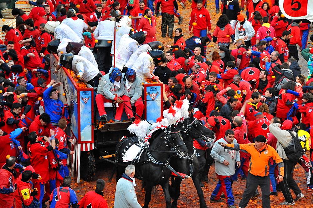 Battle of the oranges, Carneval in Ivrea, Piedmont, Italy