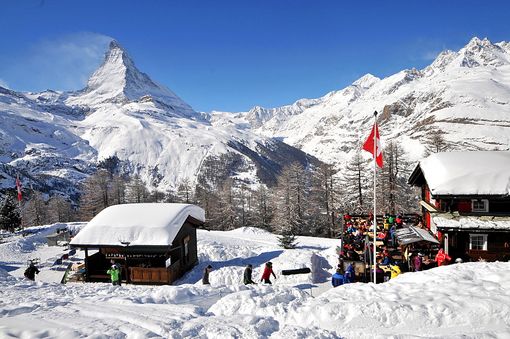 At Riffelberg in the ski resort of Zermatt with Matterhorn in the background, Valais, Switzerland