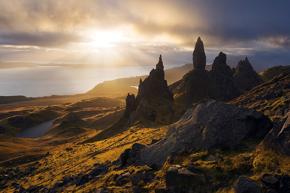 Impressive sunrise above the famous rock formation Old Man of Storr on the northern end of the Isle of Skye, Scotland, United Kingdom