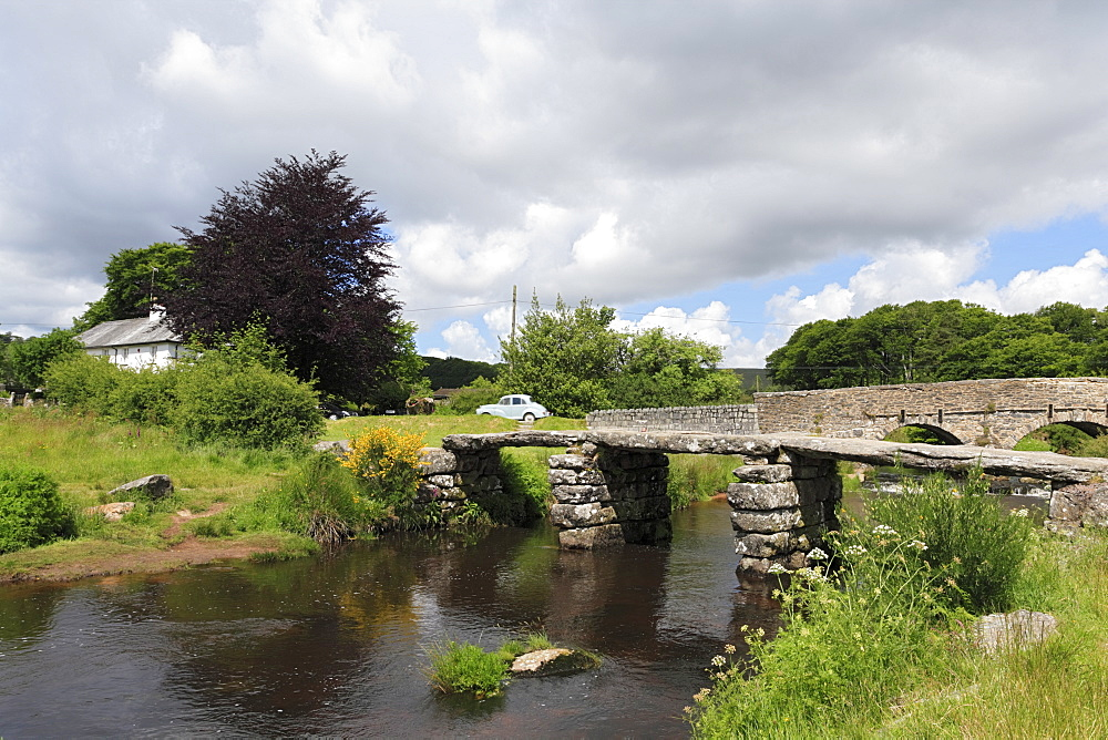 Clapper Bridge near Postbridge, Dartmoor, Devon, England, United Kingdom