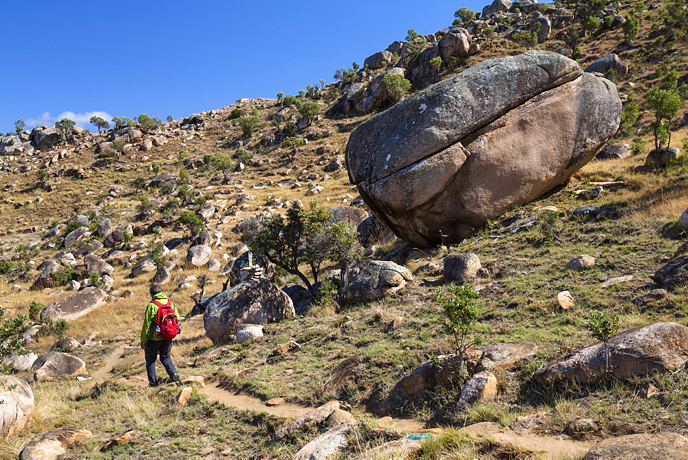 Hiker in Tsaranoro Valley, highlands, South Madagascar, Africa