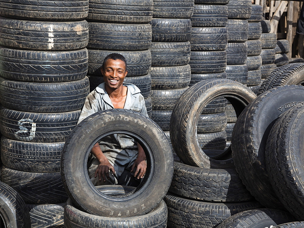 Tyre dealer, Antananarivo, capital of Madagascar, Africa