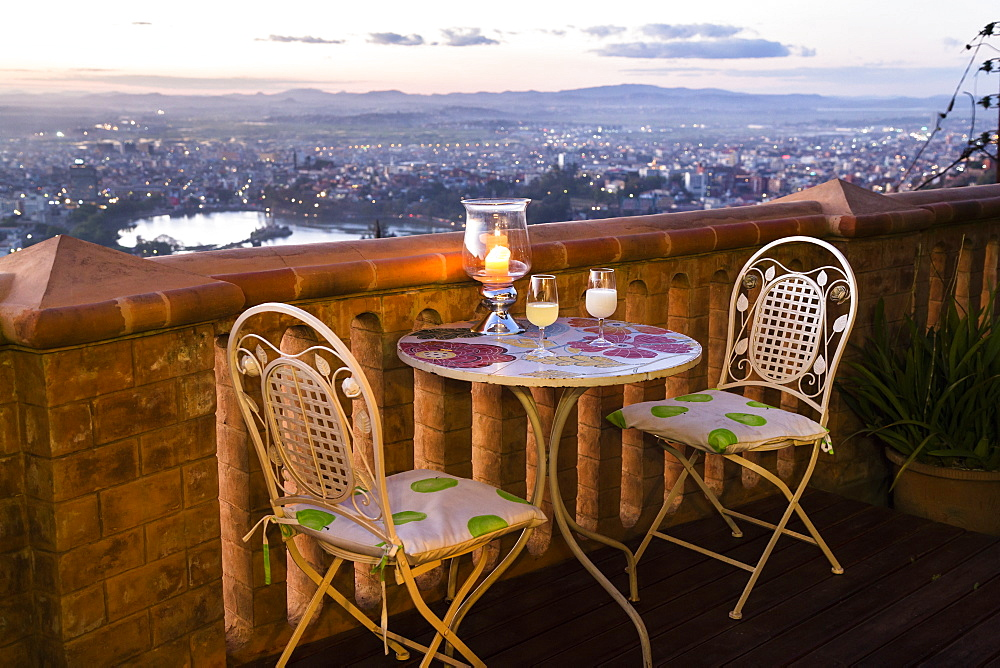 Terrace of the Lokanga hotel above Antananarivo, capital of Madagascar, Africa