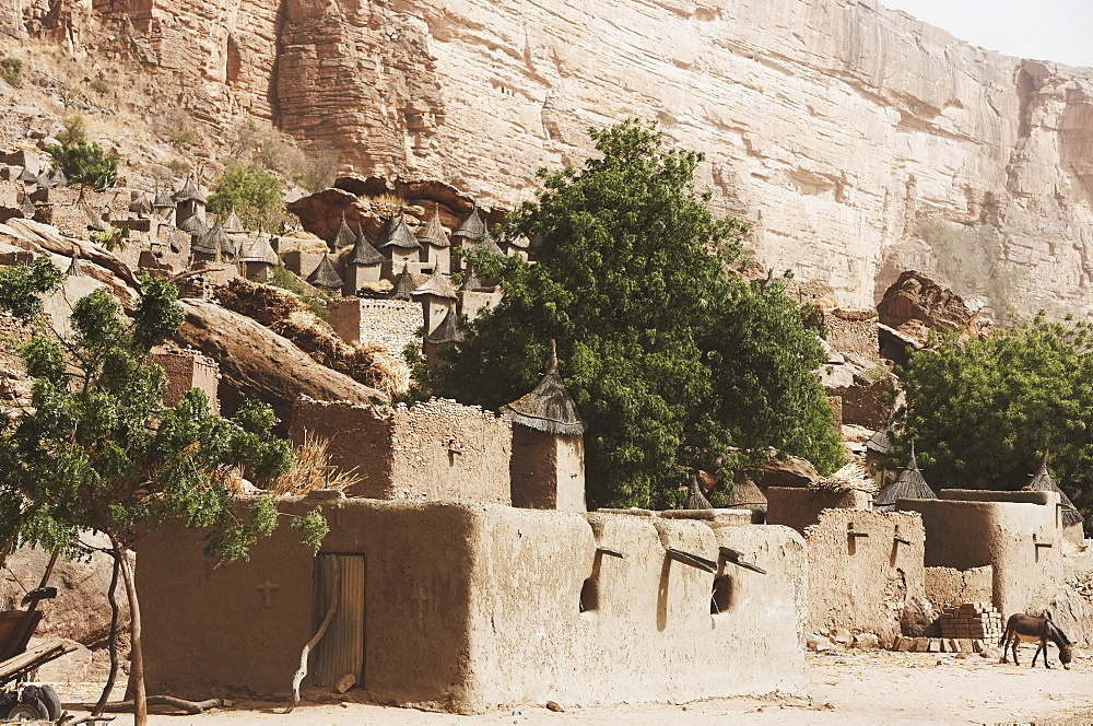 Village below the Cliffs of Bandiagara, Dogon land, Mopti region, Mali