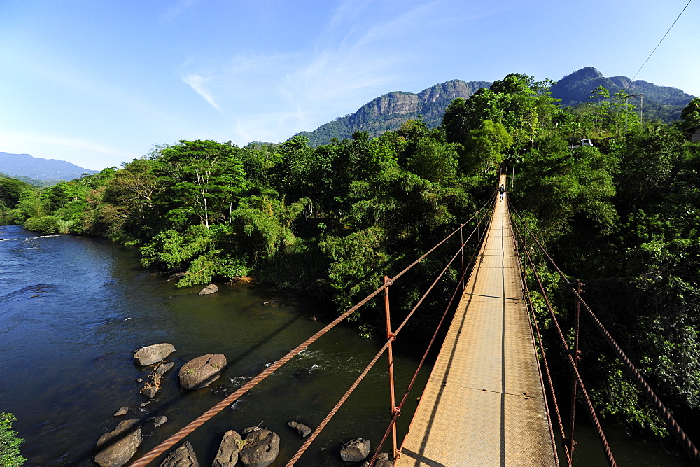 Suspension bridge crossing the river near Deraniyagala, Province of Sabaragamuwa, Ceylon, Sri Lanka, Asia