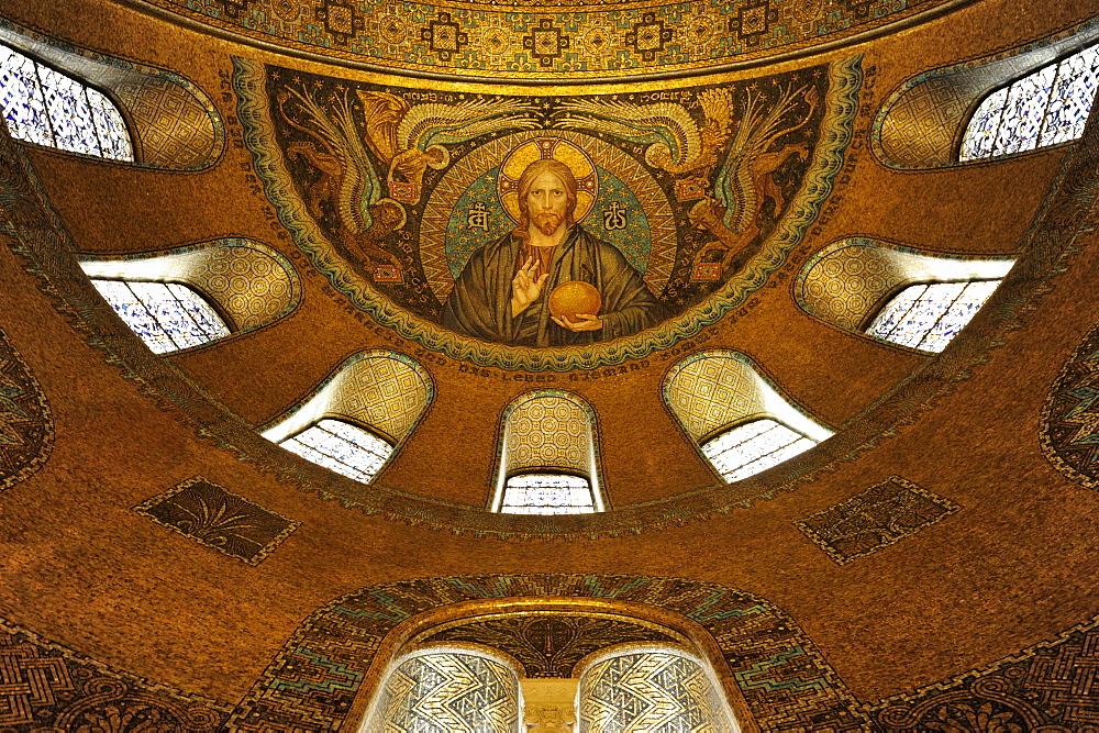 Jesus Christ mosaic in the Church of the Redeemer, a Protestant church called Erloeserkirche, health resort Bad Homburg vor der Hoehe, Hochtaunus-district, Hesse, Germany