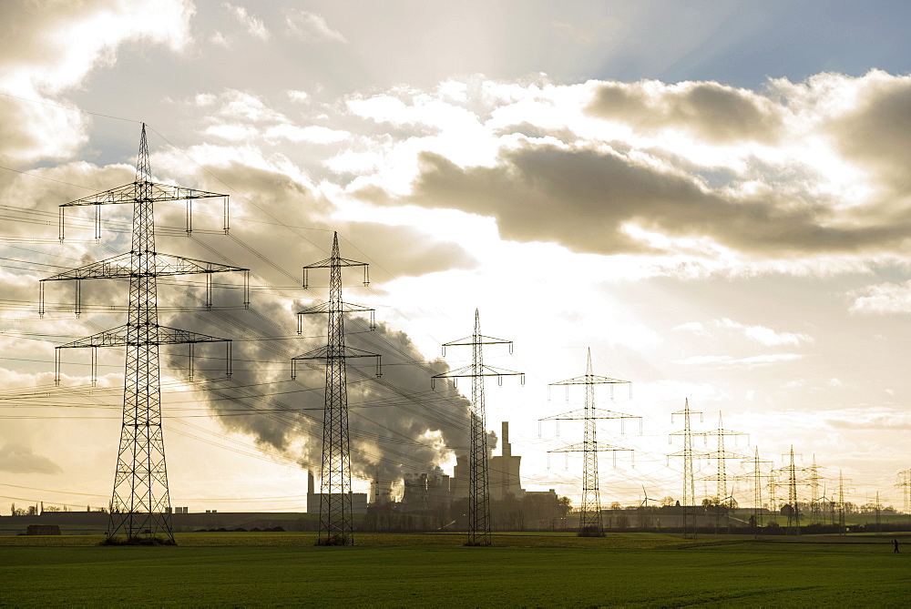 Power poles and coal power station Neurath near Grevenbroich, North Rhine-Westphalia, Germany