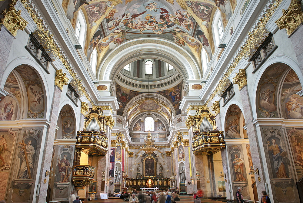Franciscan church of the annunciation interior view, Baroque, capital Ljubljana, Slovenia