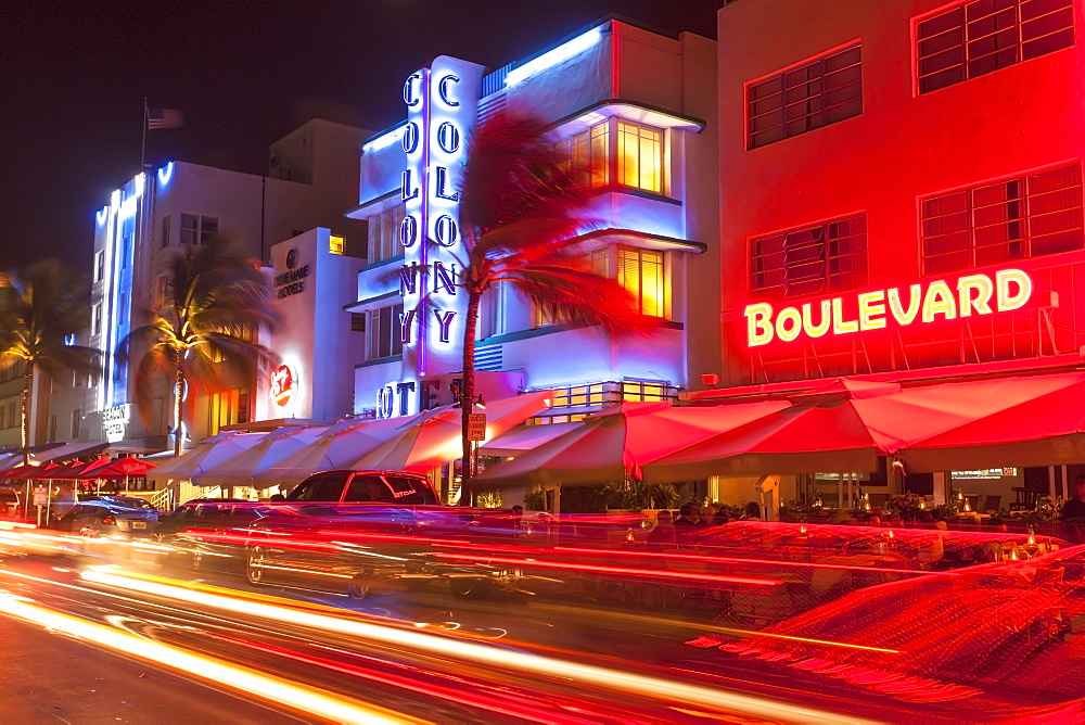 Ocean Drive at night with design hotel Colony, Art Deco District, South Beach, Miami, Florida, USA - 1113-97973