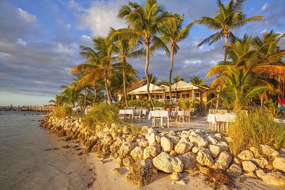 Restaurant DINING ROOM at sunset, Little Palm Island Resort, Florida Keys, USA