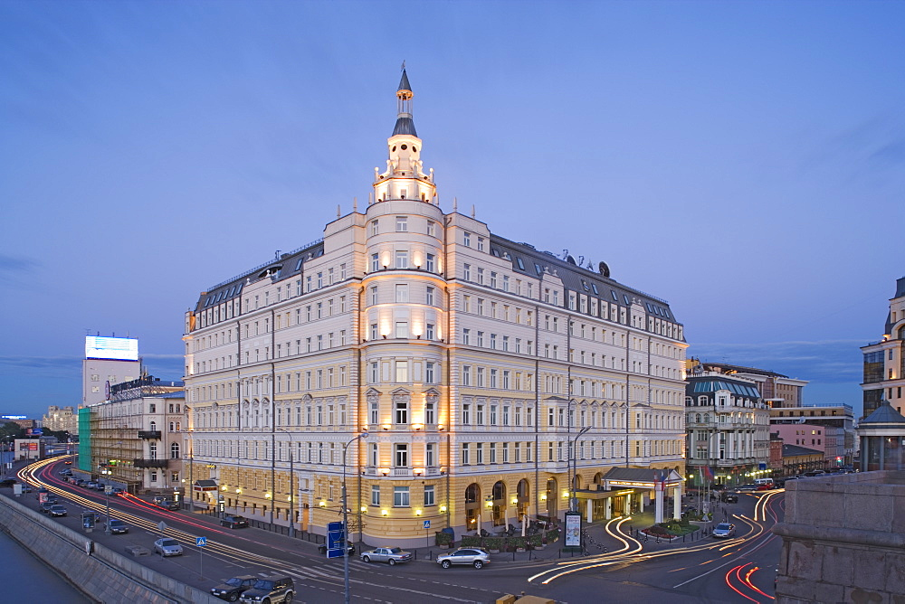 Hotel Baltschug Kempinski in the evening light, Moscow, Russia
