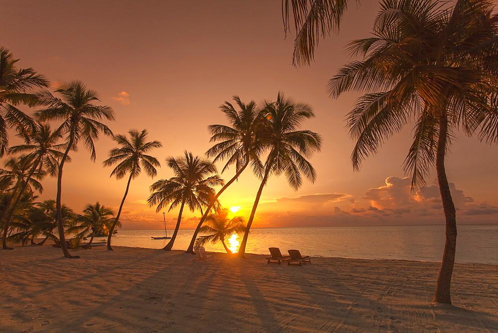 Beach at sunrise at the Moorings Village Resort, Islamorada, Florida Keys, Florida, USA