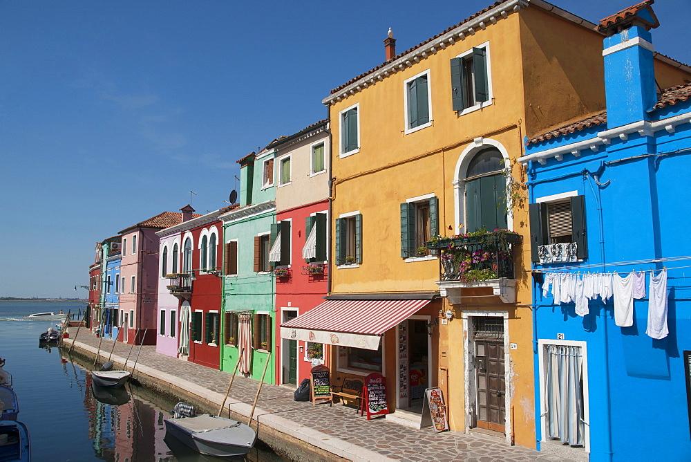 Colored houses in Burano, Burano, Venice, Venezia, Italy, Europe