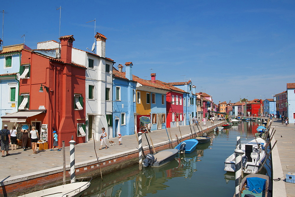 Colored houses and boots, Burano, Venice, Venezia, Italy, Europe