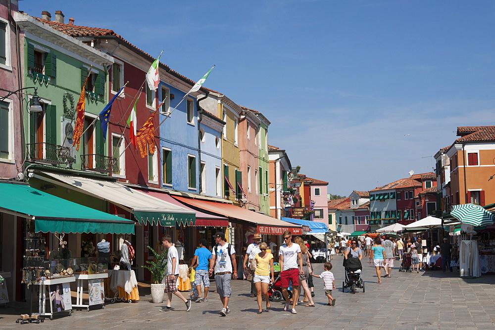 Tourists in Burano, Burano, Venice, Venezia, Italy, Europe
