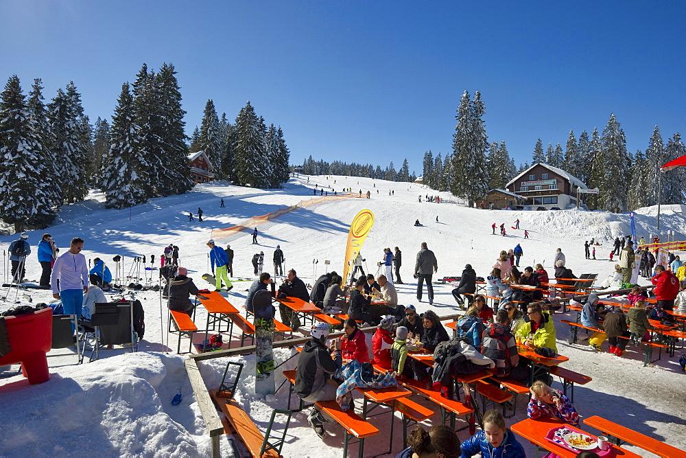 Ski area and restaurant, Feldberg, Black Forest, Baden-Wuerttemberg, Germany