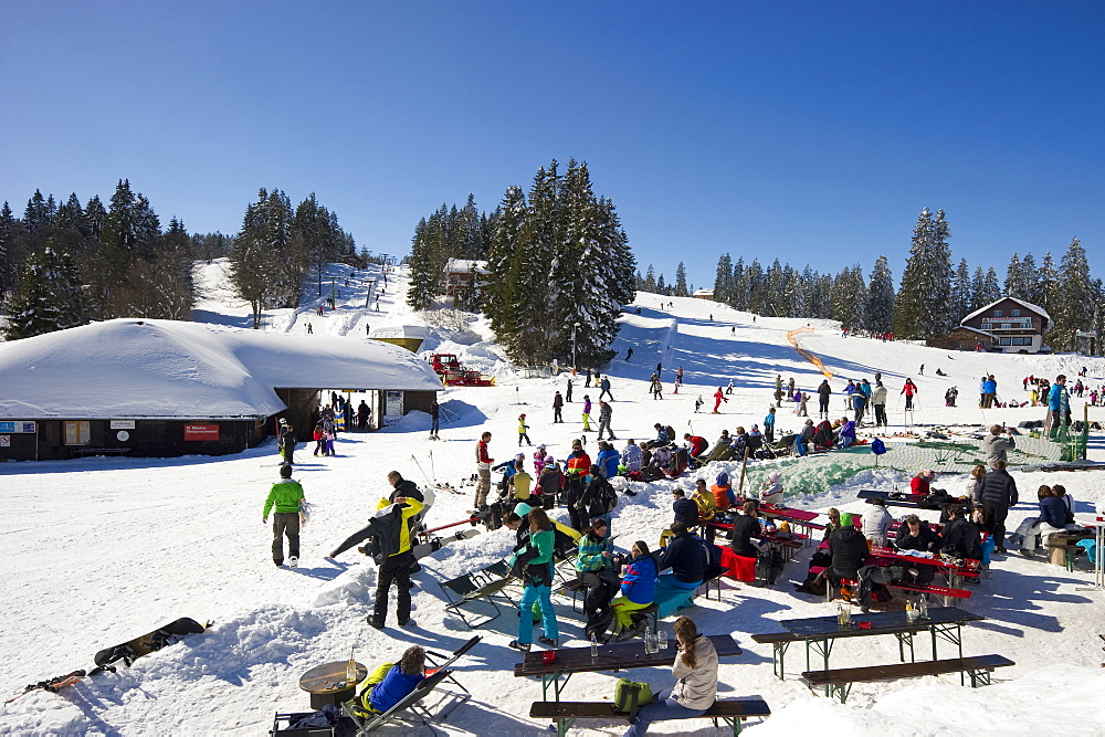 Ski area with restaurant, Feldberg, Black Forest, Baden-Wuerttemberg, Germany