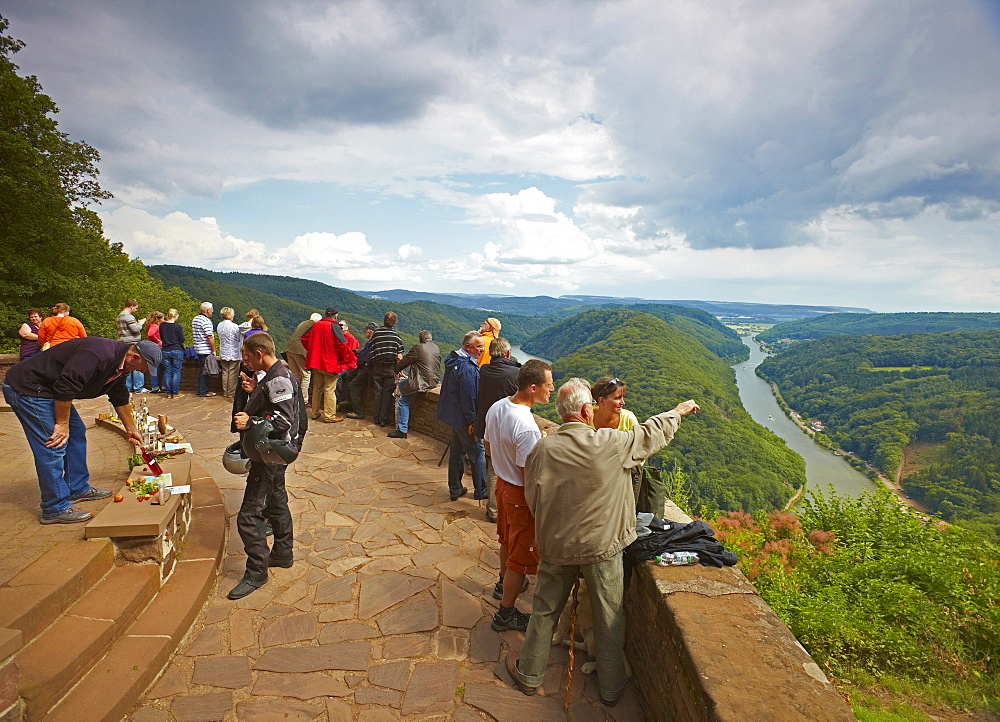 View at and visitors of Mettlach horse-shoe bend, Saar, Saarland, Germany, Europe