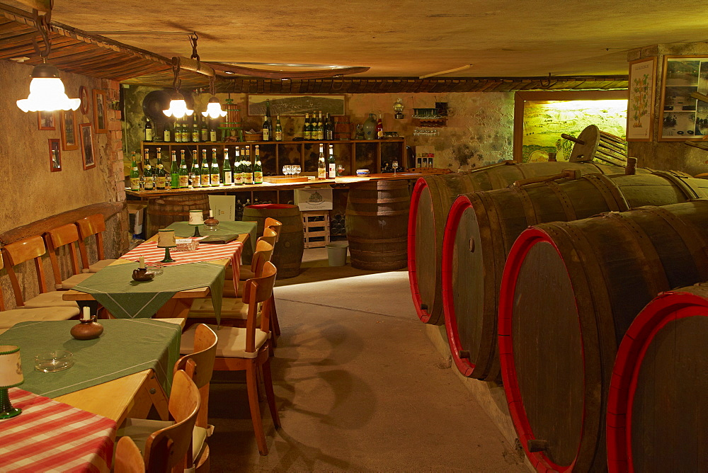 Shop and cellar of casks at Dreigiebelhaus winery Kroev, Mosel, Rhineland-Palatinate, Germany, Europe