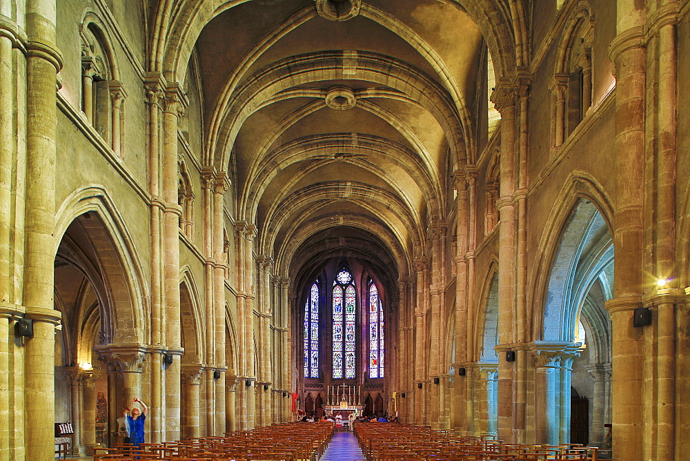 Interior view of St. Maurice's Basilica, Epinal, Mosel, Dept. Vosges, Region Alsace-Lorraine, France, Europe